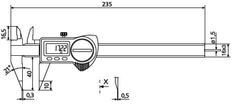 Suwmiarka elektroniczna z zaostrzonymi końcówkami Helios Preisser 1326916 wymiary