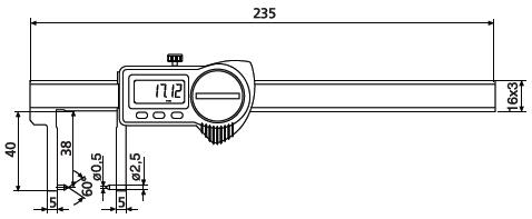 Suwmiarka specjalna Helios Preisser z nachylonymi do wewnątrz kowadełkami 1326904 wymiary