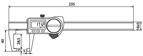 Suwmiarka specjalna Helios Preisser z nachylonymi do wewnątrz szczękami pomiarowymi 1326908 wymiary