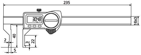 Suwmiarka specjalna Helios Preisser z nachylonymi do zewnątrz szczękami pomiarowymi 1326910 wymiary