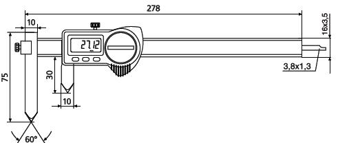 Suwmiarka specjalna Helios Preisser z regulowaną szczęką pomiarową do pomiaru odległości odwiertu 1326924 wymiary