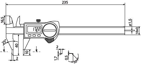 Suwmiarka z precyzyjnymi końcówkami pomiarowymi helios Preisser 1326922 wymiary